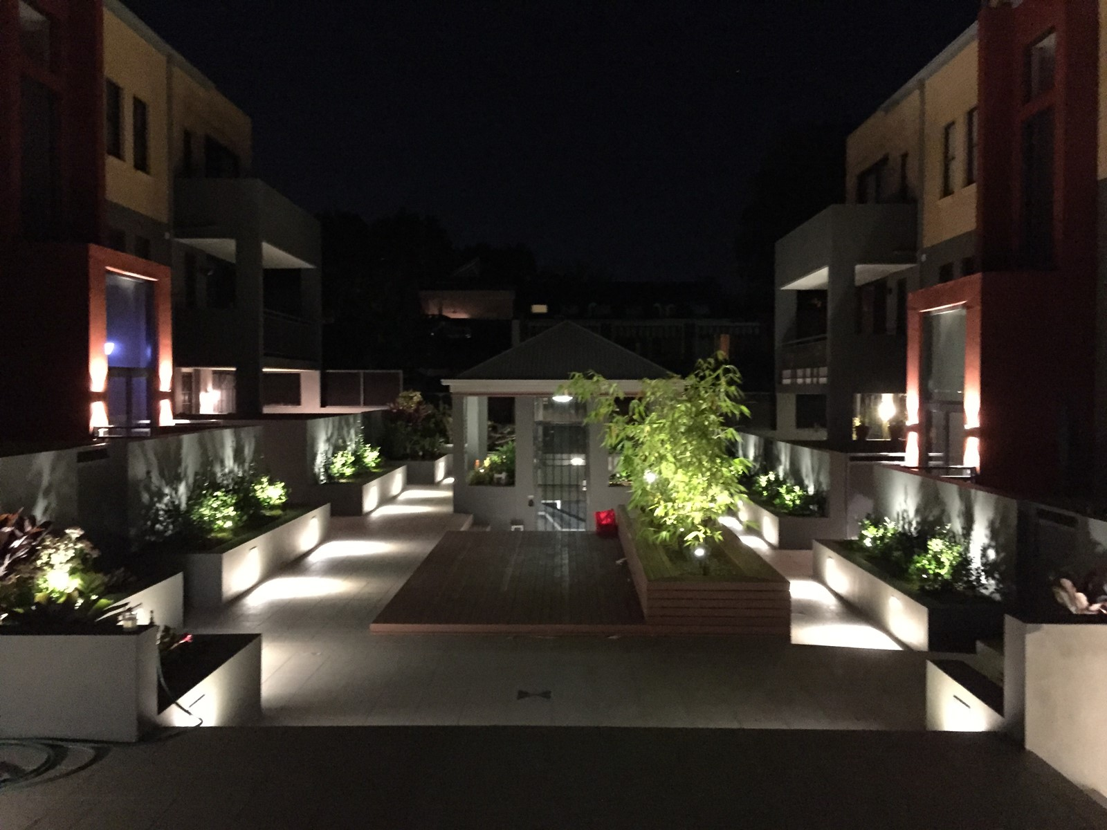 Garden lighting at night