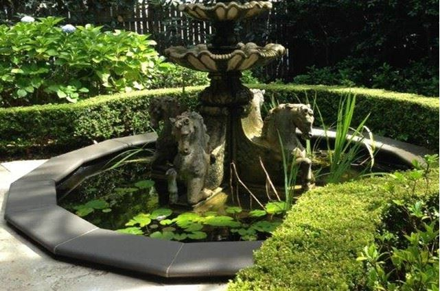 Sydney landscaping design - box hedge around water feature