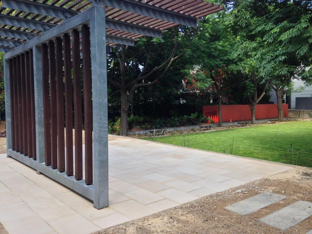 landscape construction Sydney - gate divides the space
