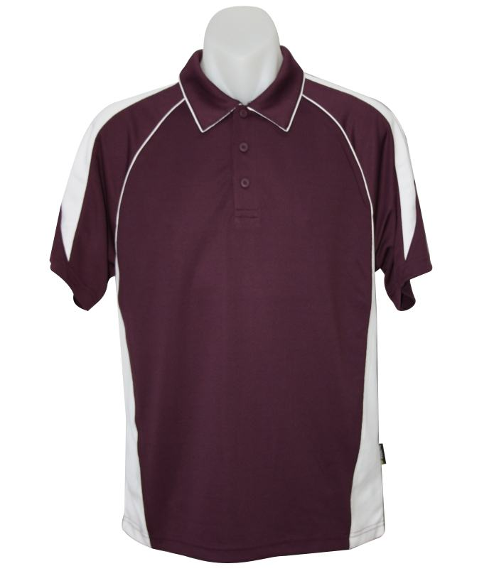 burgundy white polo shirt