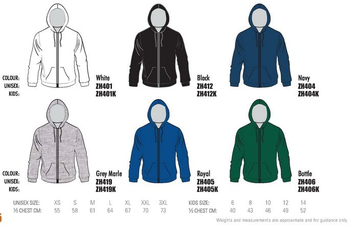 colours full zip  fleecy hoodie