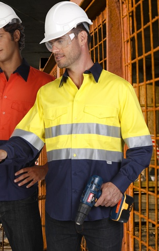 Hi Vis cotton drill work shirt with 3m reflective tape
