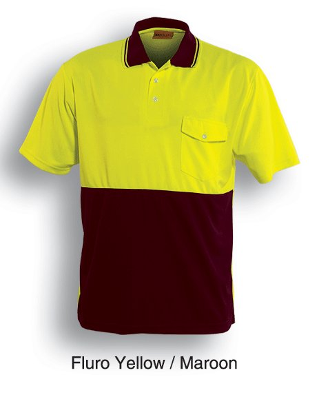 yellow maroon safety polo shirt
