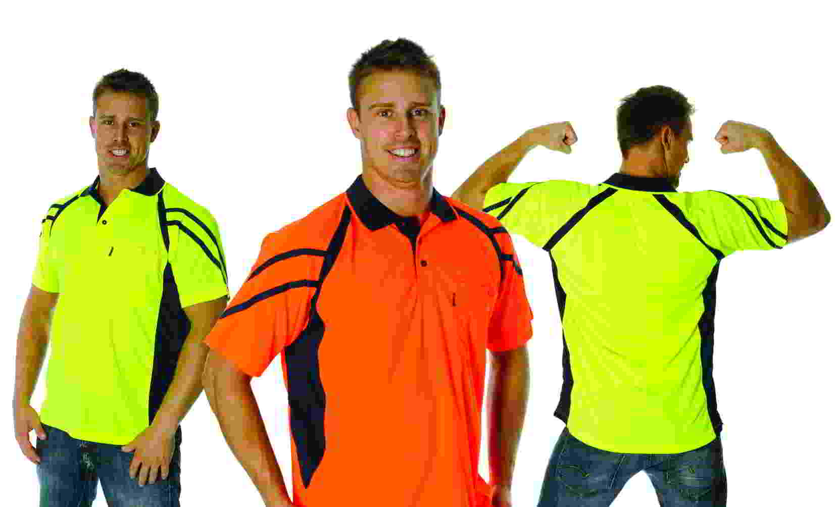 3979 striped safety polo
