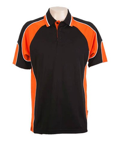 Black / Orange 309 Glenelg Polo shirt,  Cool dry, breathable, light weight, Mens, Ladies, Kids