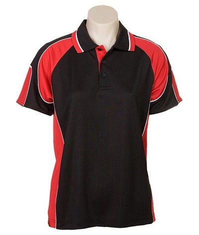 black / Red 309 Glenelg Polo shirt,  Cool dry, breathable, light weight, Mens, Ladies, Kids