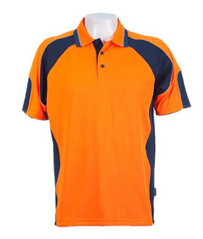Fluro Orange / Navy 309 Glenelg Polo shirt,  Cool dry, breathable, light weight, Mens