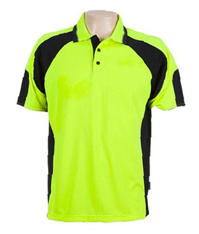 Hi Vis Fluro Yellow / Navy 309 Glenelg Polo shirt,  Cool dry, breathable, light weight, Mens, Ladies, Kids