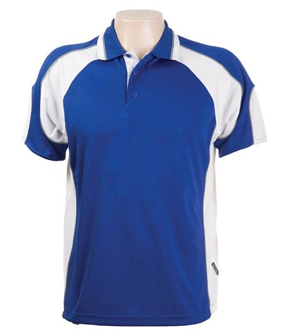 Glenelg Polo/Royal White.309 Glenelg Polo shirt,  Cool dry, breathable, light weight, Mens, Ladies, Kids