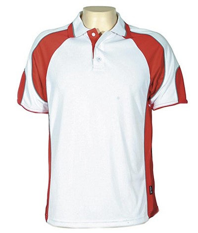 Glenelg Polo/White Red.309 Glenelg Polo shirt,  Cool dry, breathable, light weight, Mens, Ladies, Kids