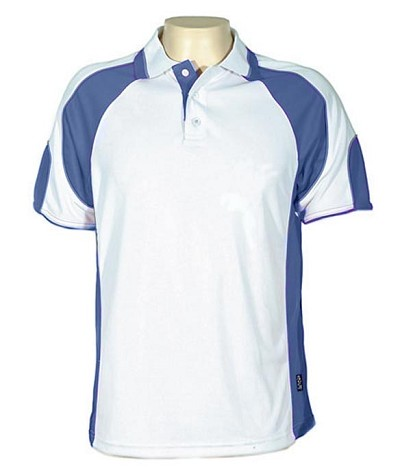 Glenelg Polo/White Royal.309 Glenelg Polo shirt,  Cool dry, breathable, light weight, Mens, Ladies, Kids