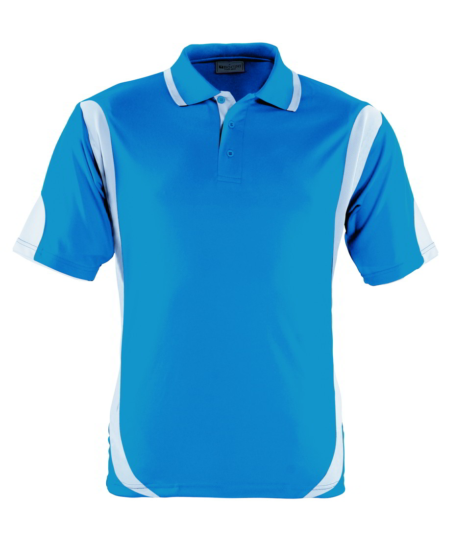 Cyan Blue / White breezeway contrast polo shirt