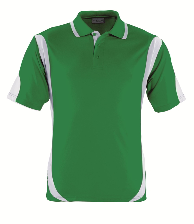 Green White breezeaway contrast polo shirt