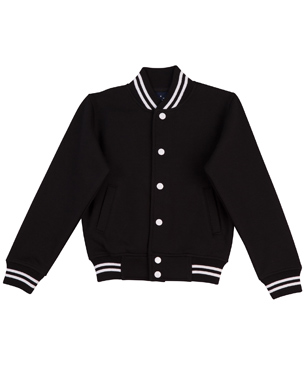 black white varsity fleece jacket