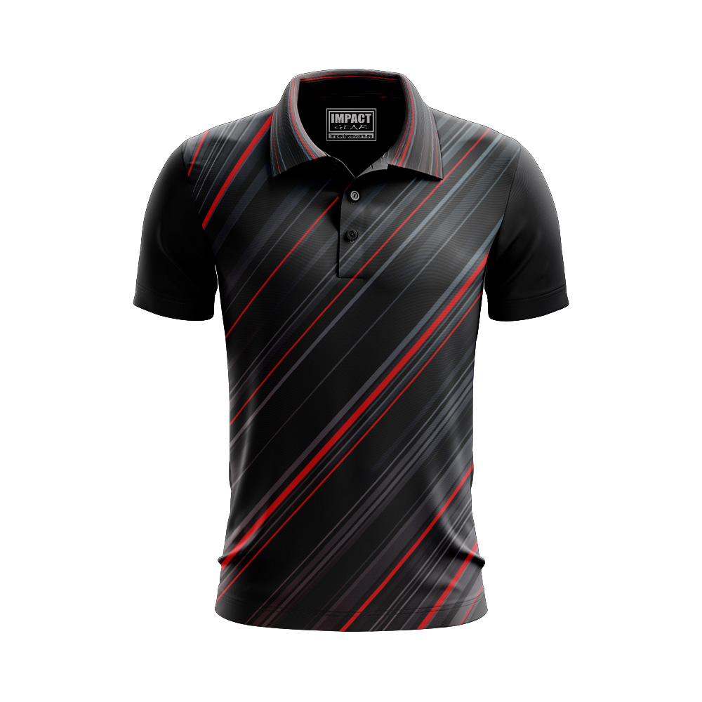 Black Red Grey Sublimated Polo shirt ALLOVER PRINT