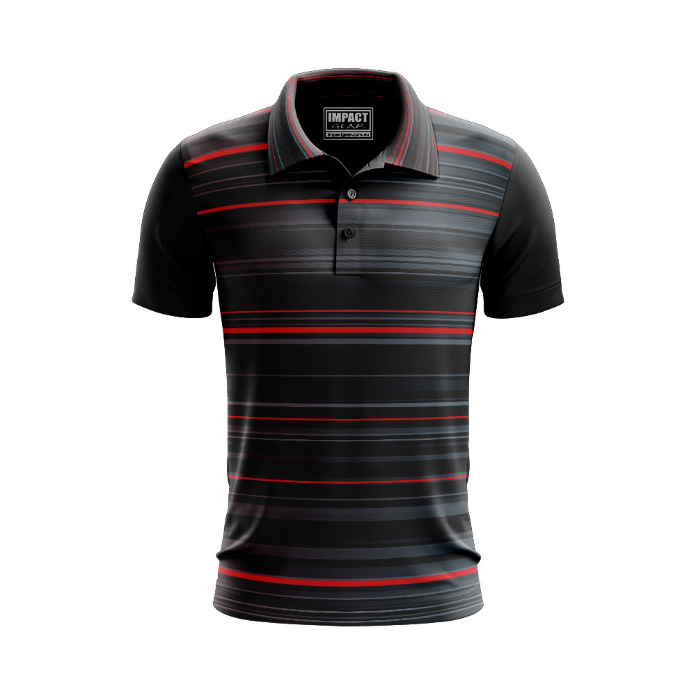 All over Sublimated Print Polo shirt Black Red grey Cool dry Dri fIT