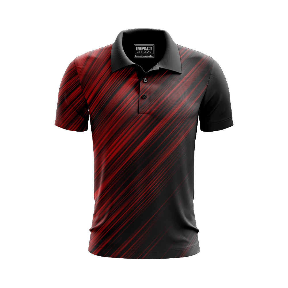 Sublimated Design  Polos Light weight Dri Fit Red Black