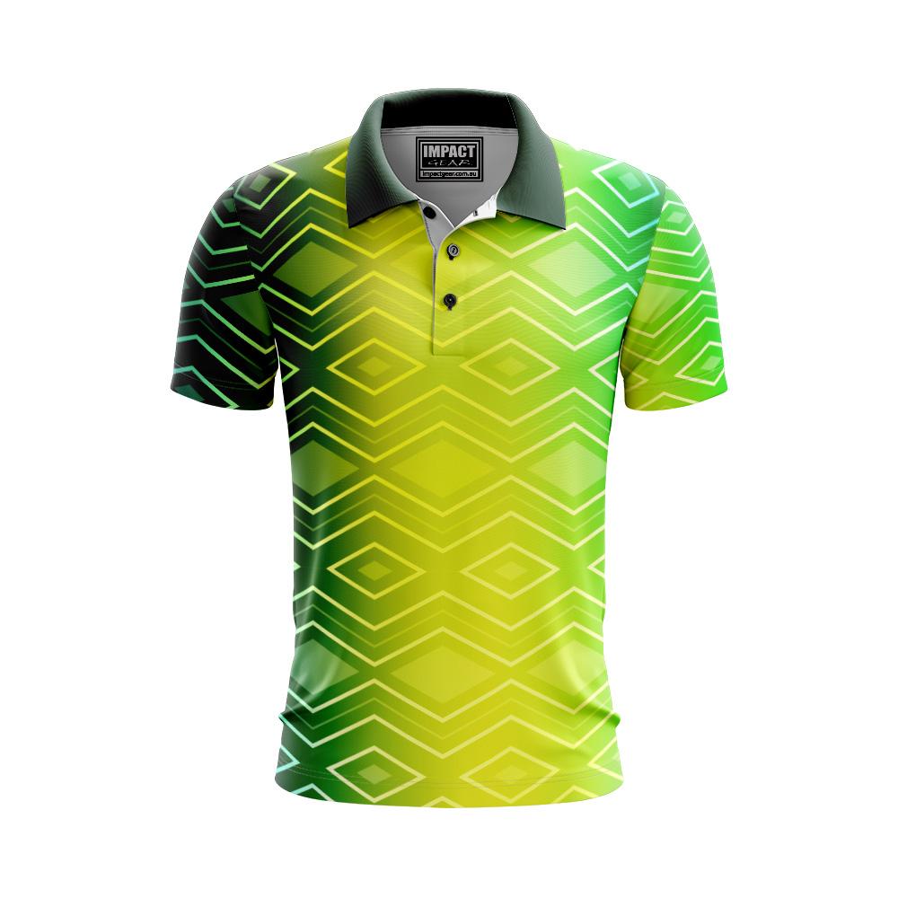 Diamond design Green Yellow Sublimated Polo Shirts