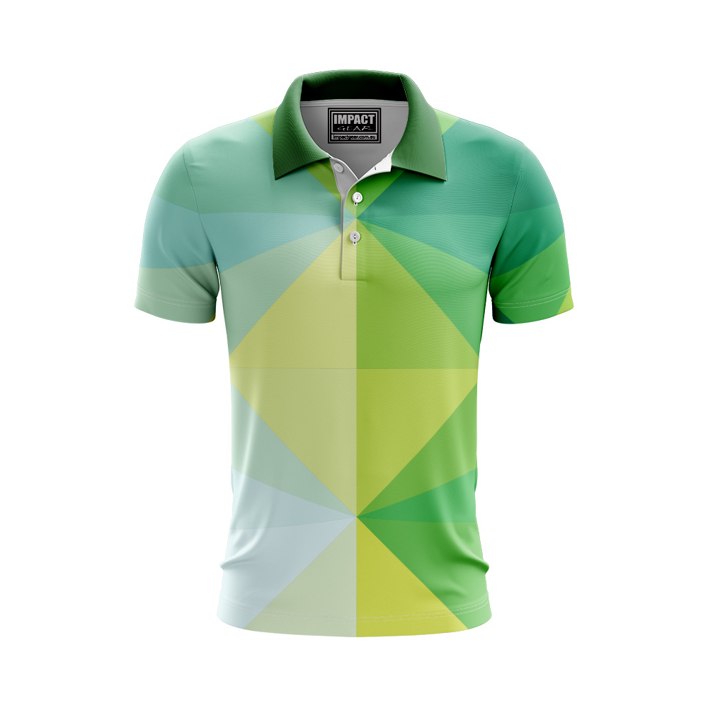 Green Yellow Aussie Colours Fully Sublimated Sports Polo shirt