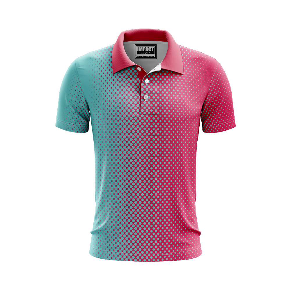 Sublimated Custom made Aque Pink Polo shirt Cool Dry light weight