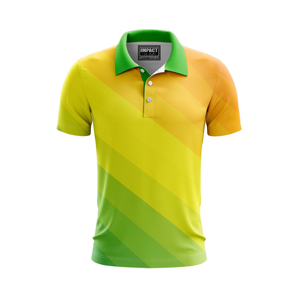 Australia Sports Colours Green Gold Sublimated Polo shirt design