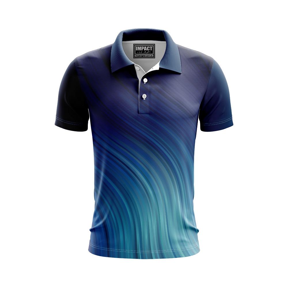 Blue Aqua swirl design  DYE SUB POLO