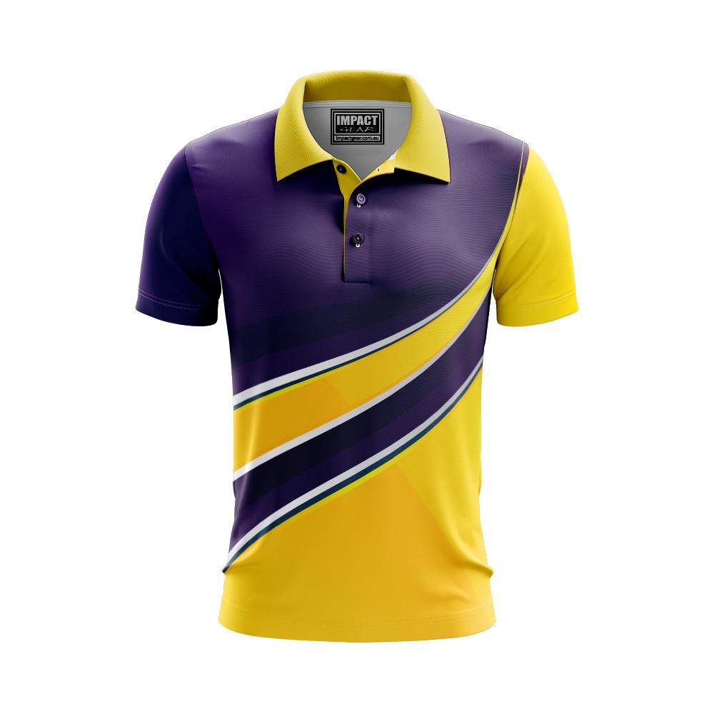 SUBLIMATED Purple Gold White Polo shirt