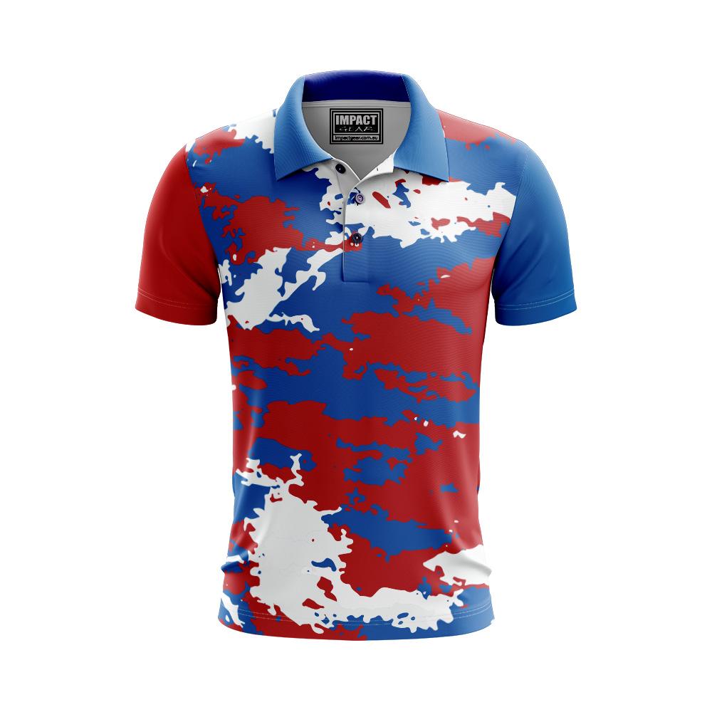 Royal Red White Camo design Sublimated Polo shirt