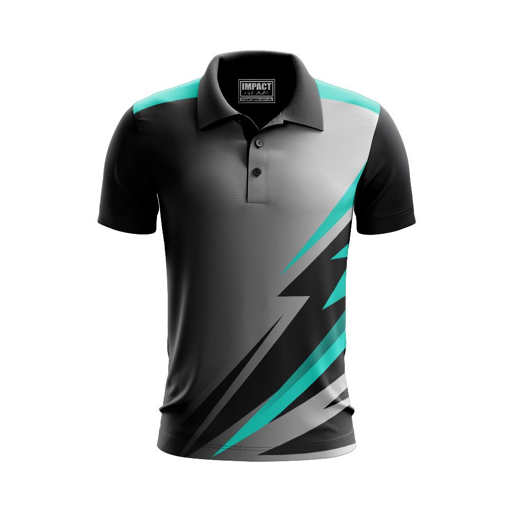 Grey Aqua Black Sublimated Custo made Polo shirt add your logo