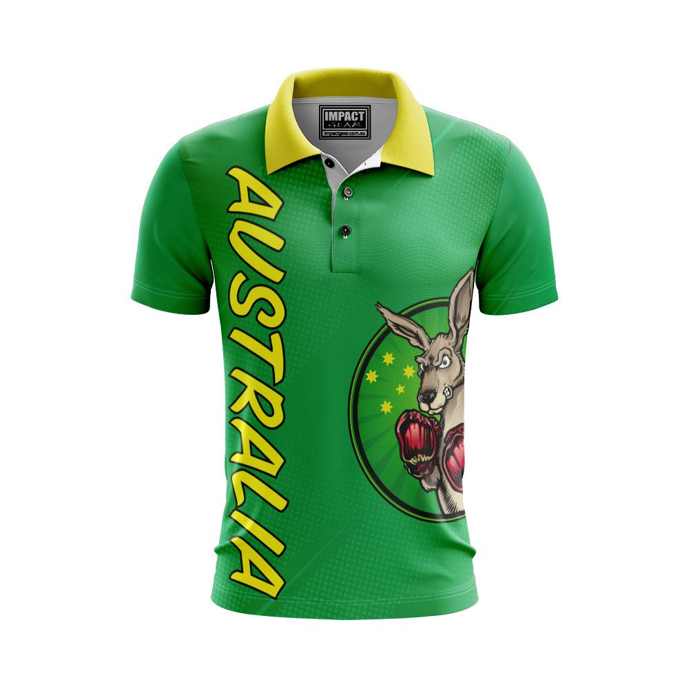 Aussie Boxing Kangaroo design Green and Gold Aussie Polo shirt