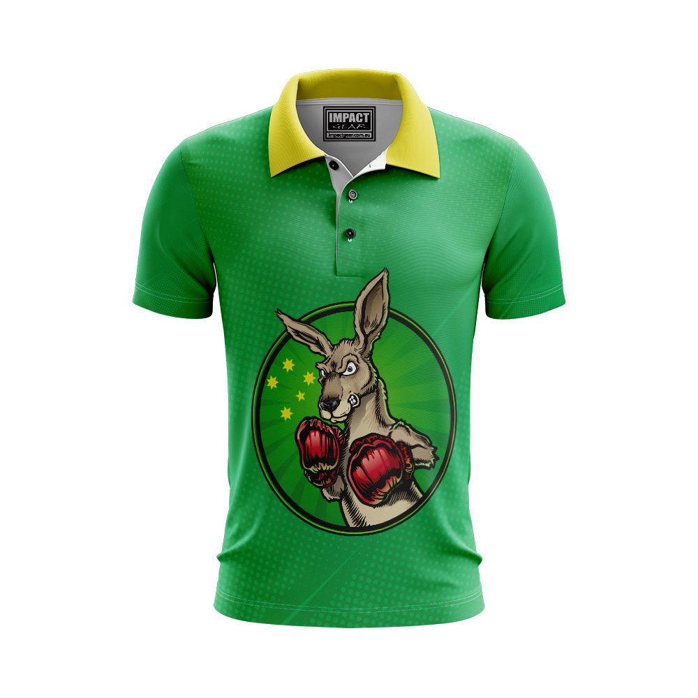 Boxing Roo Aussie design sublimated Polo shirt Australia Breathable