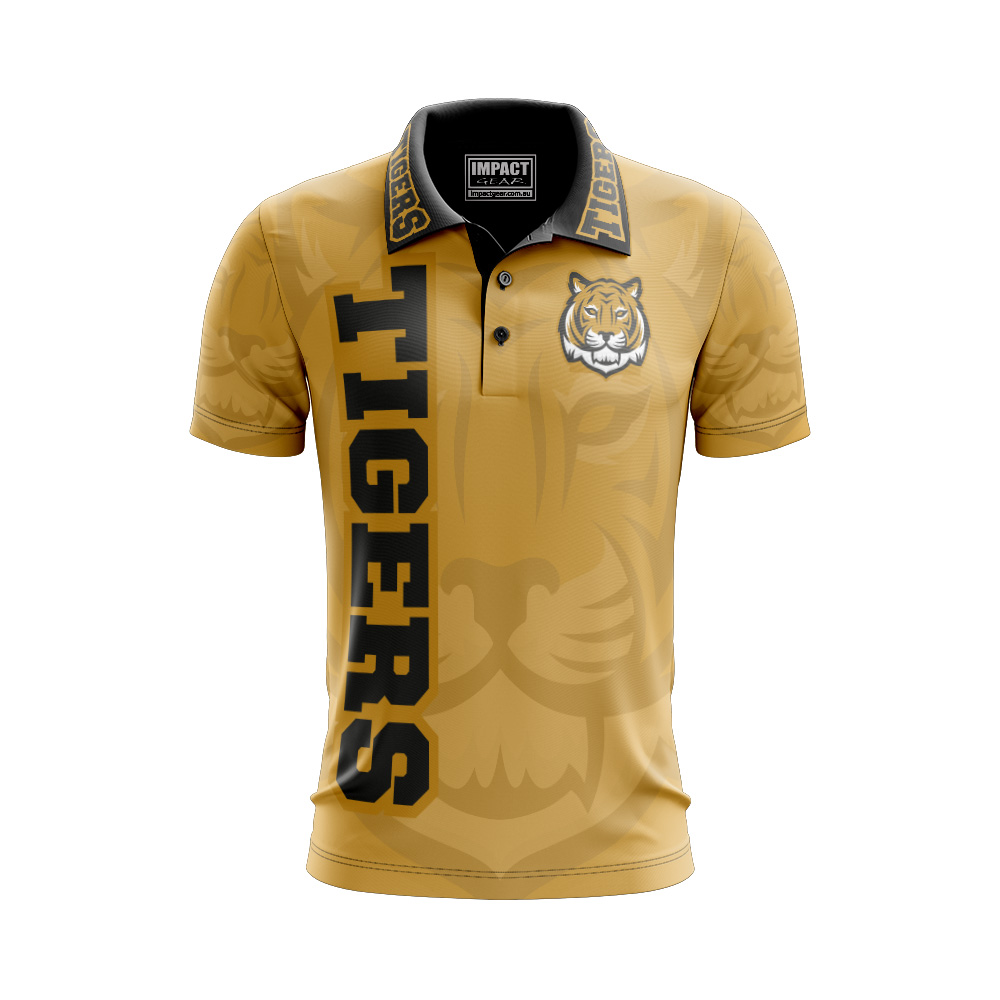 Dye Sublimated Tigers Footy design Polo shirt Cool Dry