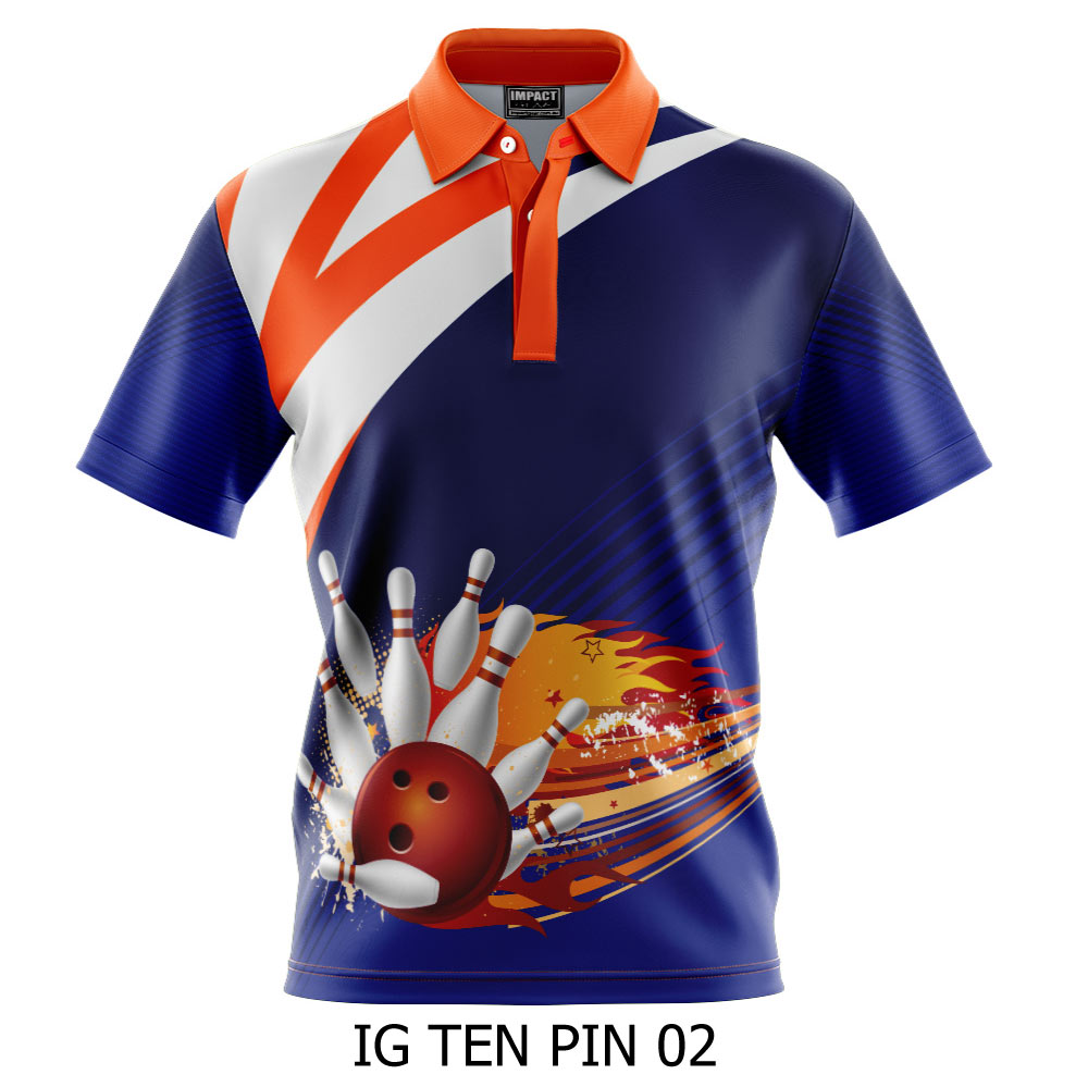 Bowling Shirt, Ten Pin Custom made Sublimated Polo shirts, Micro mesh