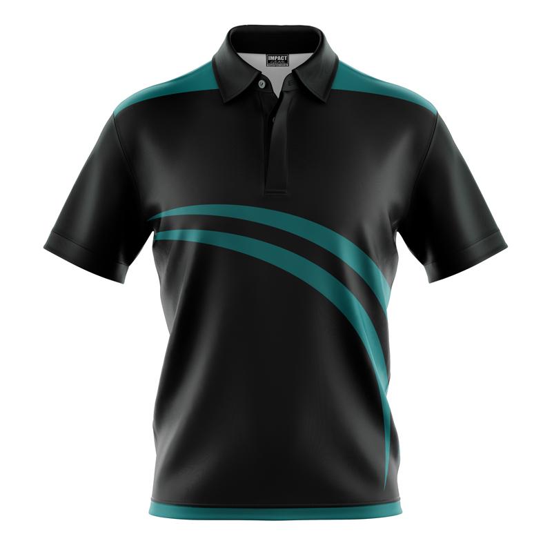 Dye Sublimated Polo Shirt , Aqua Black, Custom made, Quick Dry Light Weight