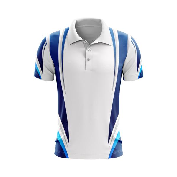 Dye Sublimation Polo Shirt, White Royal , Cyan, Custom made, Australia