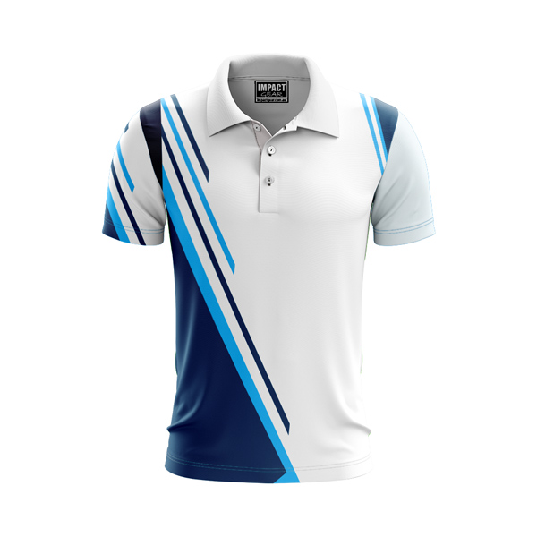 Sublimated Polo Shirt White Blue Lines , Cool Dry , Custom made