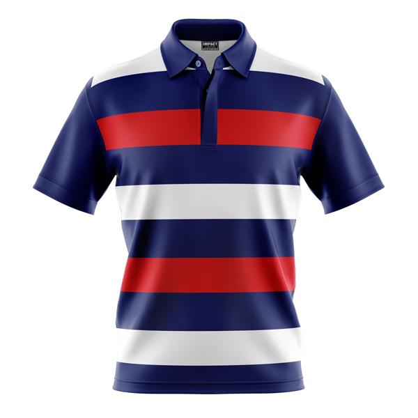 cUSTOM MADE, dYE sUBLIMATED pOLO SHIRT, Design, White, Red , Blue Stripe,Club Shirts, Cool Dry