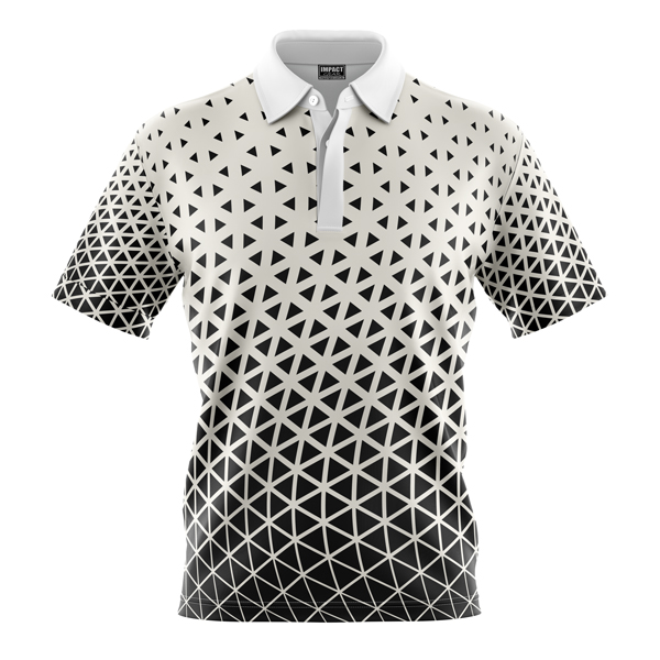fully Dye Sublimated Polo shirt, Design Black White Triangles, Custom made , DYO