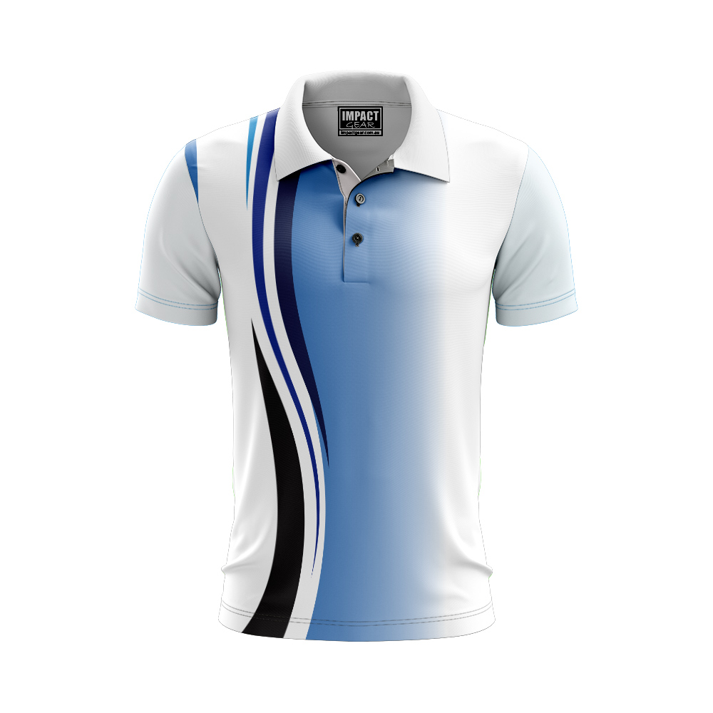 Sublimated Polo Shirt, White Blue lines, Custom made , Impact gear