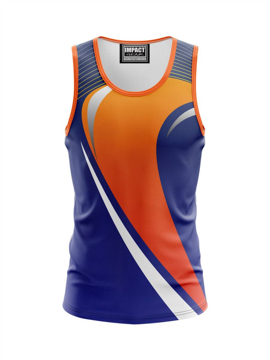 Orange Royal Blue Fully Sublimated Singlet, Custom Made