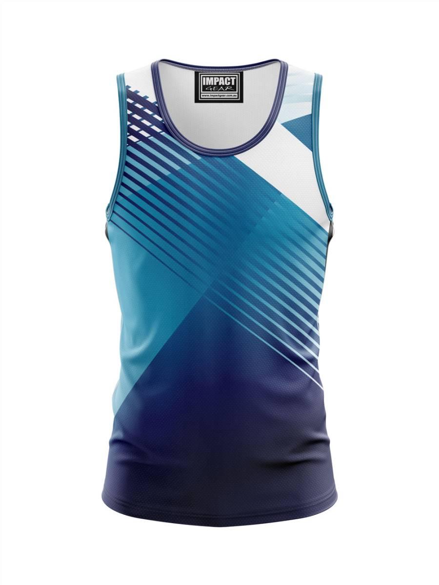 Blue Stripes Dye Sub Singlet Custom made