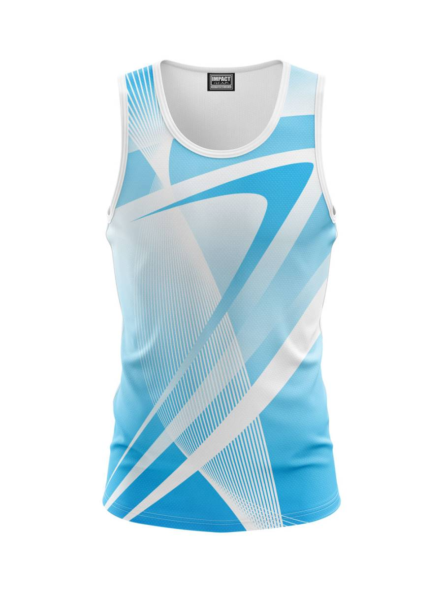 sKY Blue White Dye Sublimated Singlet design, Cool Dry Quick Dry