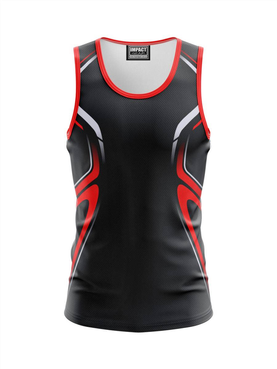 Black Red design Sublimated Singlet.