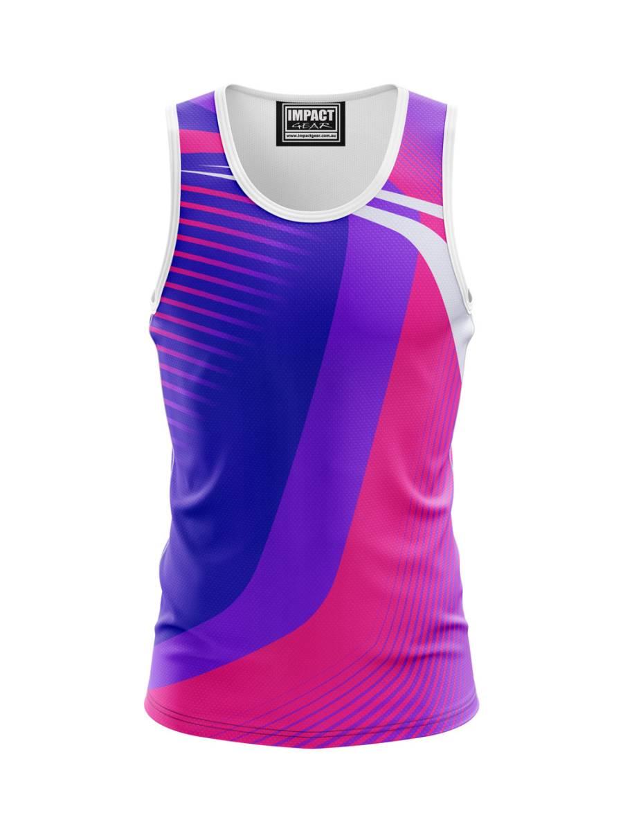 PTS 045 Purple Pink White Dye Sub Singlet, Custom made Australia