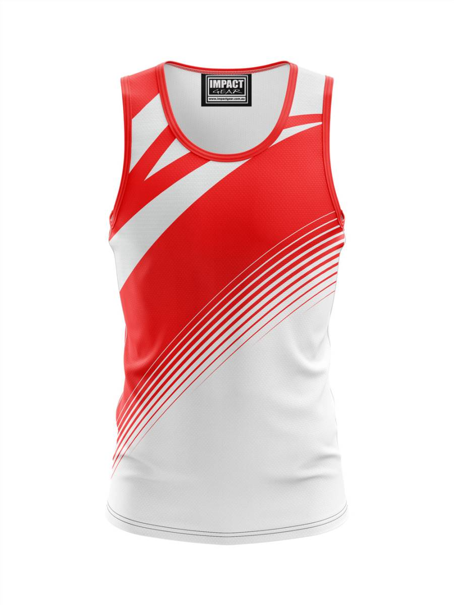 Red White Dye Sublimated Singlet