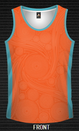 Sublimated Singlet Dreamtime, Custom made, Qld, Sunshine Coast