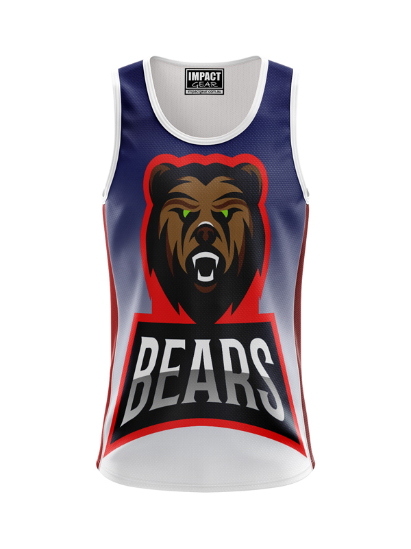 Dye Sublimated Singlet , Bears logo, Custom made, DYO