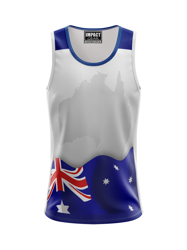 Dye Sublimated Singlet Australian Flag &  Map, DYO. Custom made,Quick dry