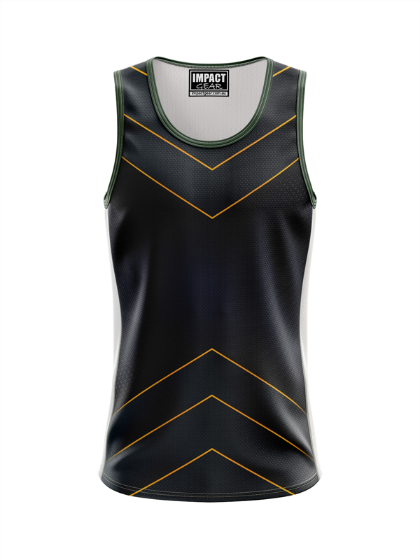 Fully Dye Sublimated Singlet Triangle Black, CUSTOM MADE DYO