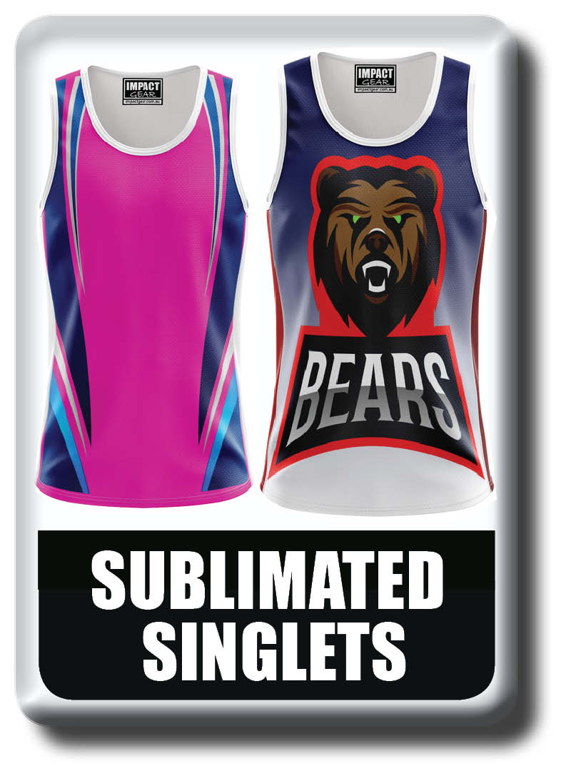Sublimated Singlet collection, Cool Dry, light weight, breathable, quick dry
